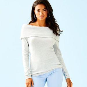 NWT Lilly Pulitzer Christin Fold Sweater Grey XXS
